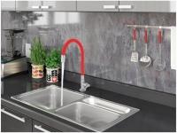 Torneira Gourmet para Cozinha de Mesa Nell – Flexível Cromada e Vermelha AM02
