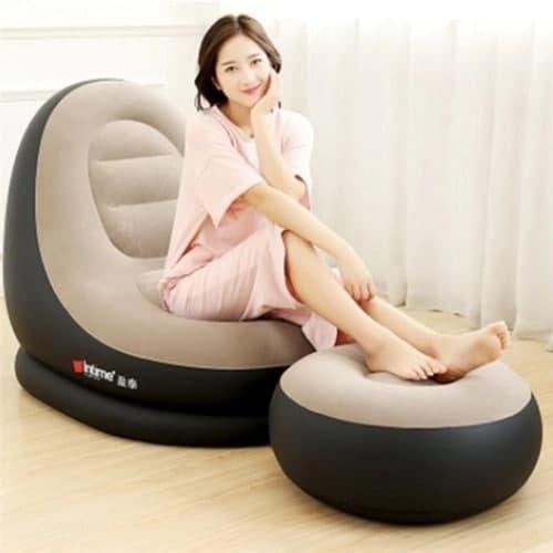Sofa poltrona inflável kit 2 em 1 com puff ultra lounge portátil quarto sala jardim piscina luxo