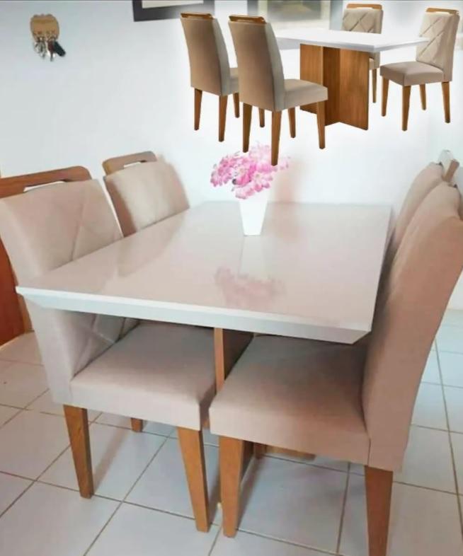 Mesa de Jantar 4 Cadeiras Retangular Rufato – Berlim Melis
