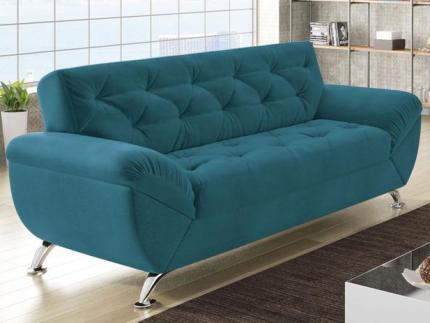 Sofá 3 Lugares Revestimento Suede Larissa Style – Linoforte