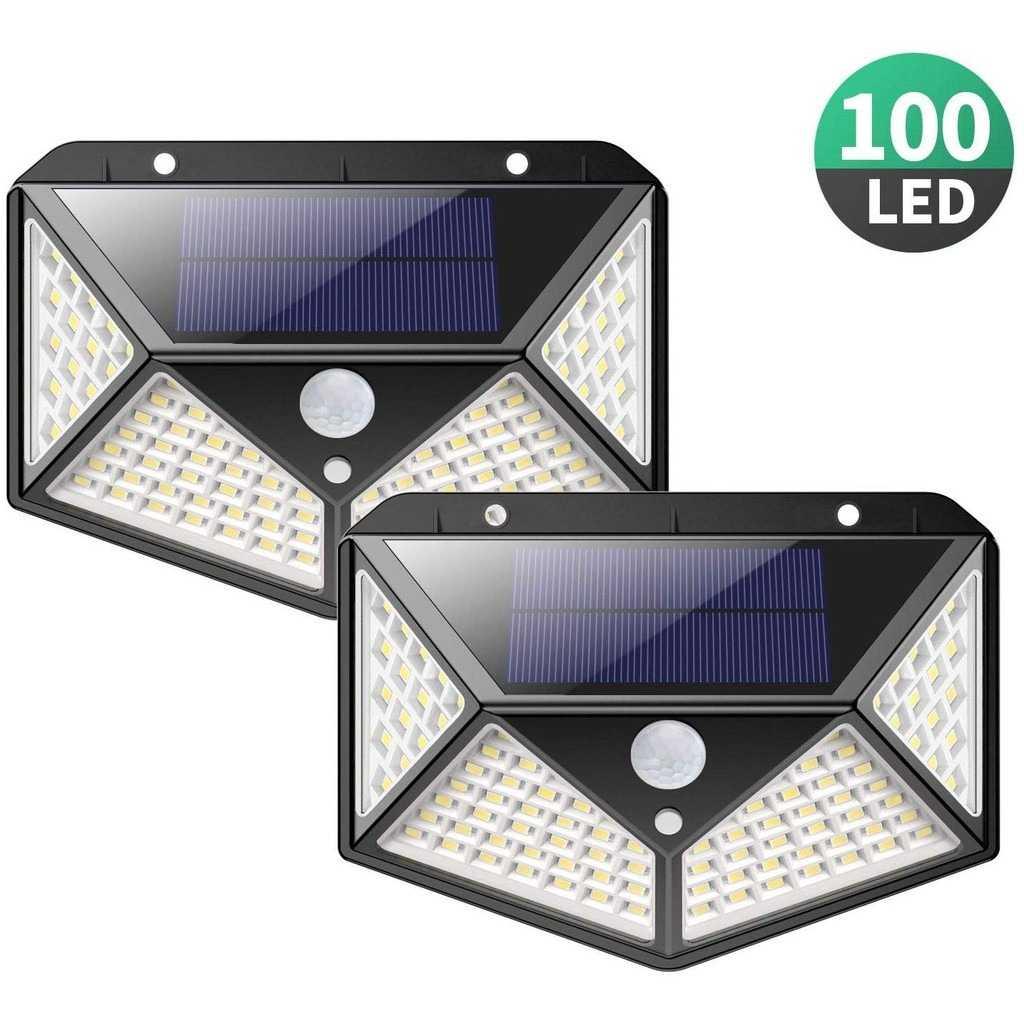 Luminária Solar 100 Leds Com Sensor Presença Movimento Fotocélula Sem Fio à Prova D' Água