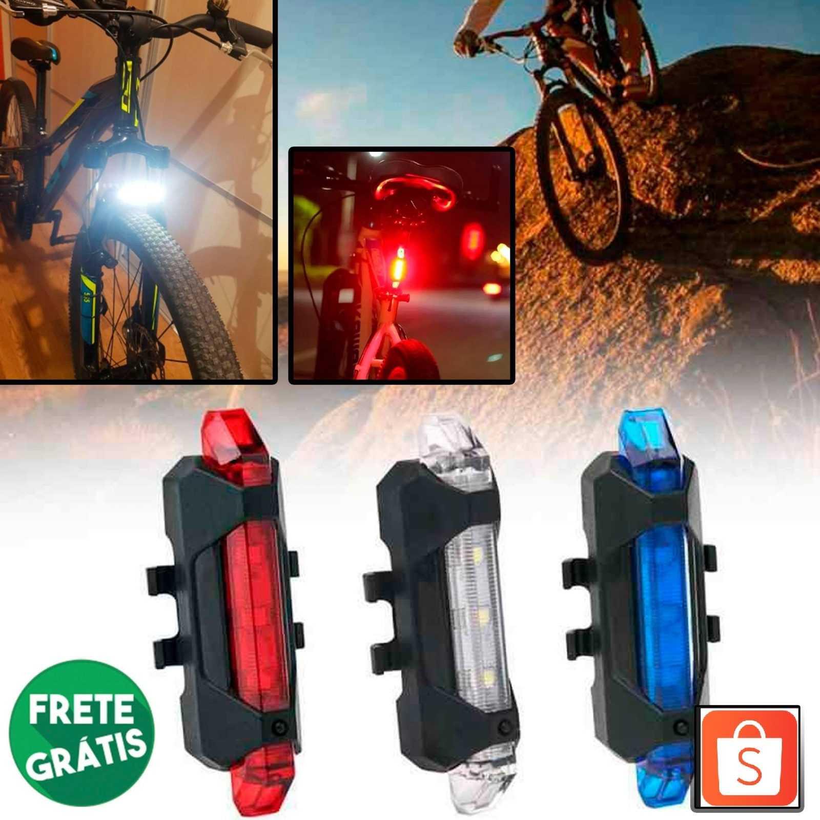 Sinalizador Traseiro Bike Luz Led Recarregável Usb – 3 Cores