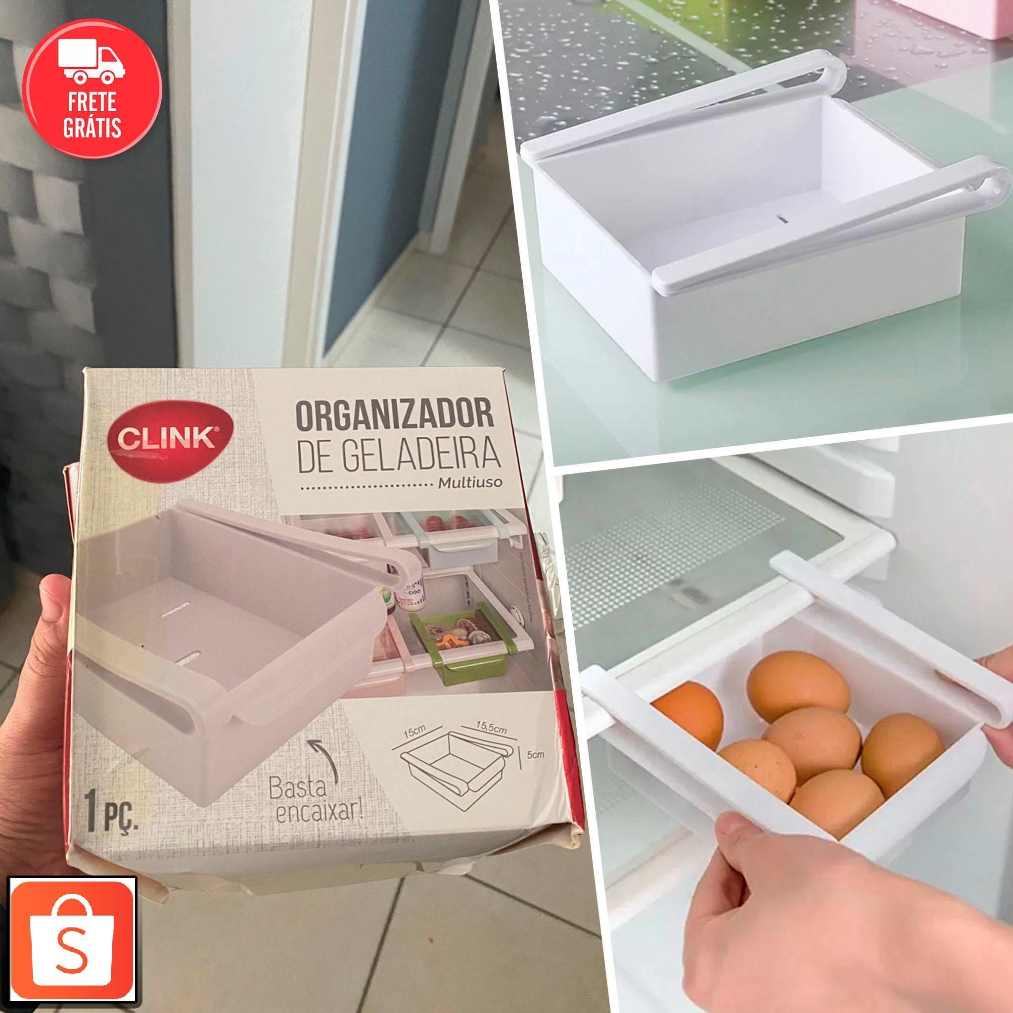 Organizador de Gaveta Multiuso Geladeira Cozinha Alimentos Prático Branco – Clink