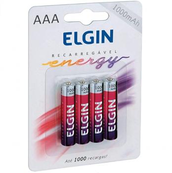 Pilha Recarregável Ni-Mh Aaa-1000Mah Blister Com 4 Pilhas, Elgin, Baterias