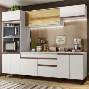 Cozinha Completa Madesa Reims 260002 com Armário e Balcão Branco