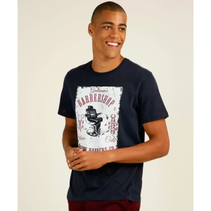 Camiseta Masculina Estampa Barbeiro Manga Curta MR