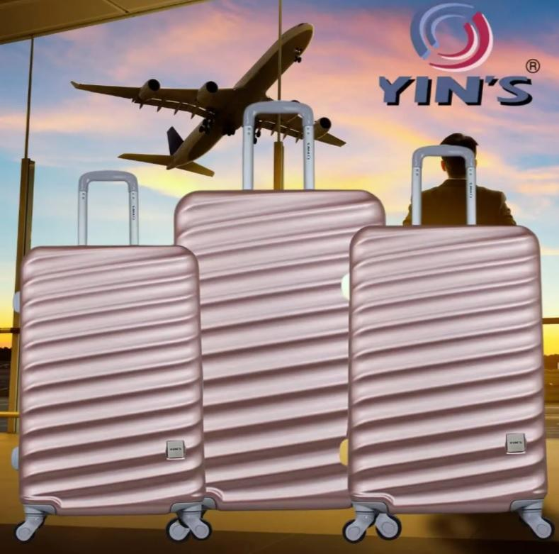 Conjunto de Malas para Viagem Yins Brasil YS21067RO com 3 peças com Rodas Giro 360º – Rosê