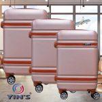 Conjunto de Malas para Viagem Yins Brasil YS21067VD com 3 peças com Rodas Giro 360º – Rose