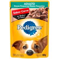 5 Unidades Ração Úmida para Cachorro Adulto Sachê - Pedigree Carne ao Molho 100g