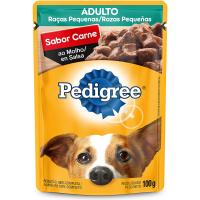 4 Unidades Ração Úmida para Cachorros Pedigree Sachê Carne ao Molho Adultos Raças Pequenas 100g