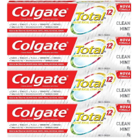 Kit com 4 Creme Dental Colgate Total 12 Clean Mint 90g