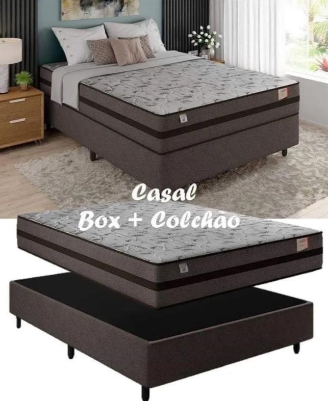 Cama Box Casal (Box + Colchão) Plumatex Mola – 62cm de Altura