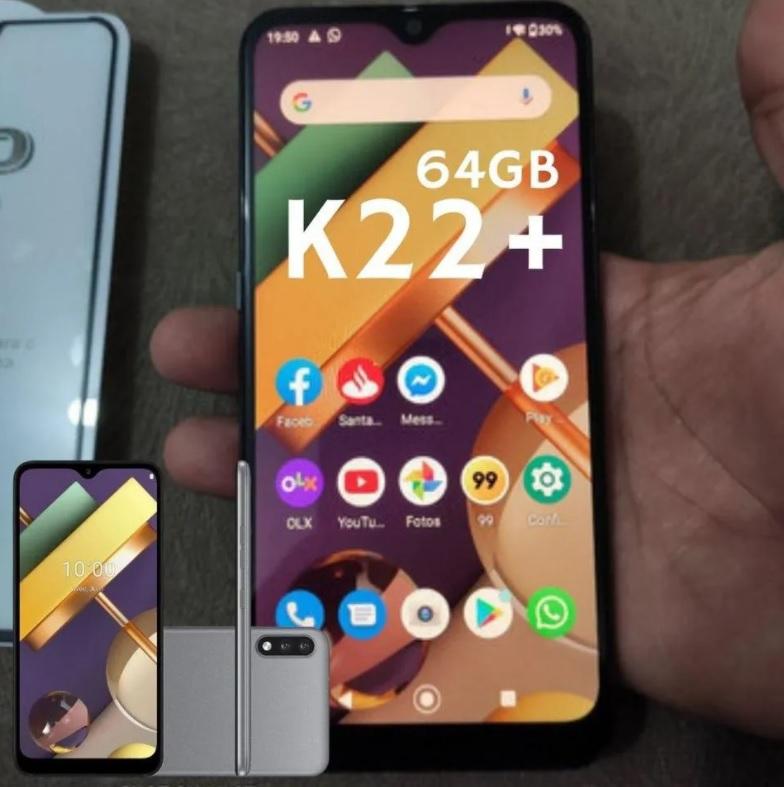 Smartphone K22+ Red LG, com Tela de 6,2″, 4G, 64GB e Câmera Dupla de 13 MP + 2 MP