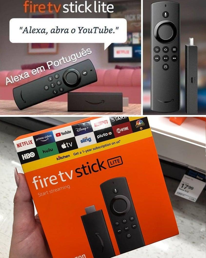 Fire TV Stick Lite com Controle Remoto Lite Por:  Voz com Alexa  2020  – Amazon