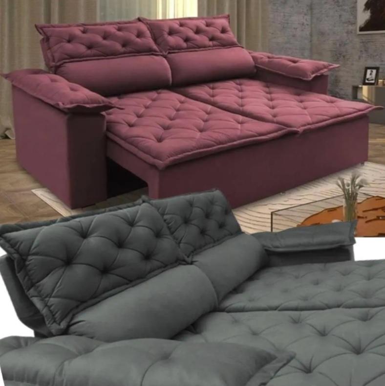 Sofá 3 Lugares Retrátil e Reclinável Cama inBox Compact 1,80m Velusoft ( 8 cores )