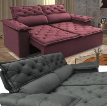 Sofá 3 Lugares Retrátil e Reclinável Cama inBox Compact 1,80m Velusoft Café