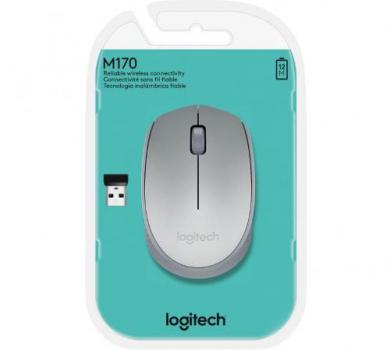 Mouse Sem Fio Óptico Logitech USB M170 Prata