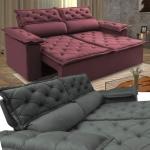 Sofá 3 Lugares Retrátil e Reclinável Cama inBox Compact 1,80m Velusoft