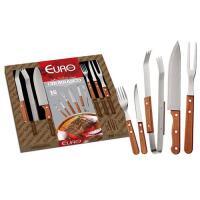 Kit para Churrasco em Madeira Euro 15 Peças - BBQW-15