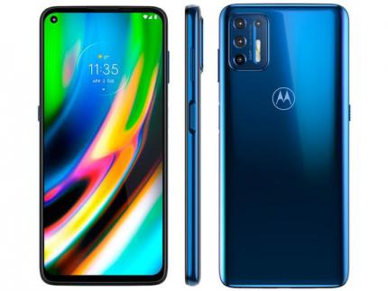 "Smartphone Motorola Moto G9 Plus 128GB Azul Indigo – Octa-Core 4GB RAM 6,8"" Câm. Quádrupla+Selfie 16MP"