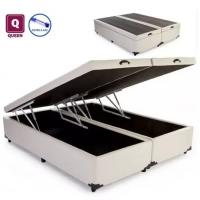 Cama Box Queen Size Bau Pistão A Gás Bege Bipartido - 158x198x27 - Marketplace
