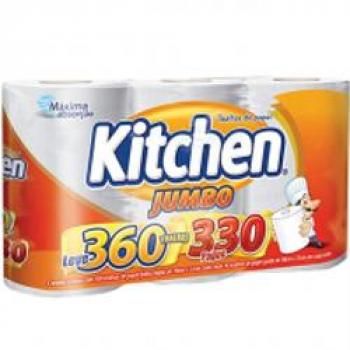 Papel Toalha Kitchen Jumbo Folha Dupla – Pack com 3 rolos de 110 unidades de 19×22 cm cada