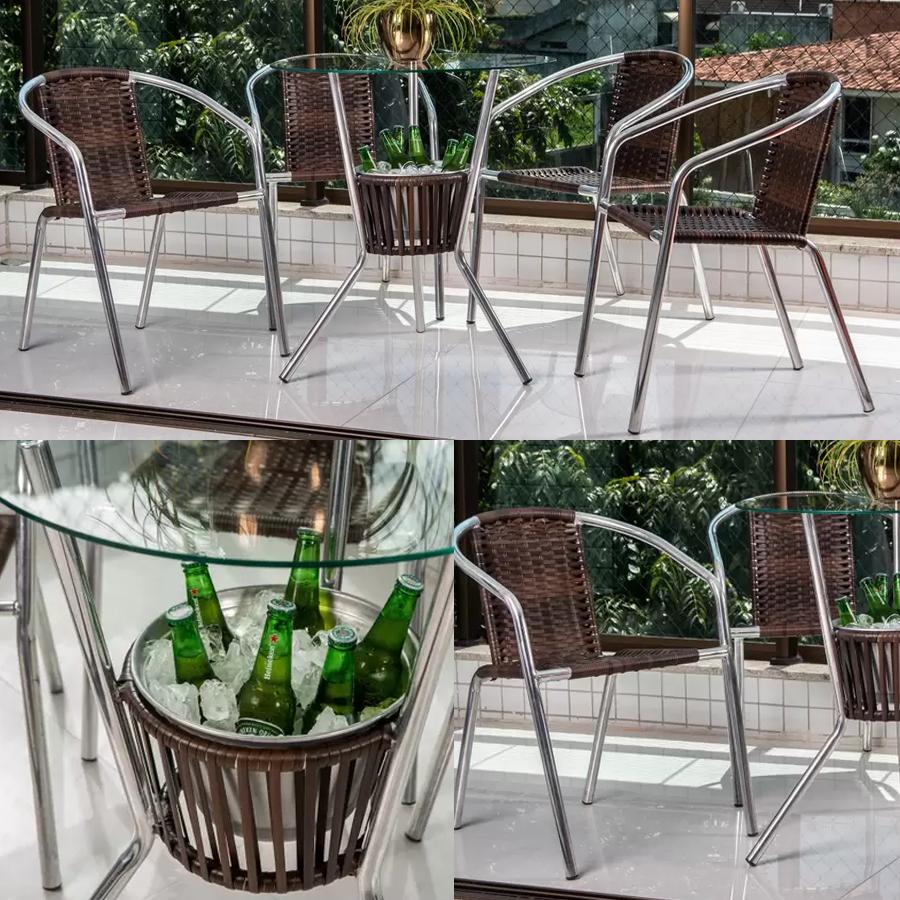 Conjunto de Mesa para Área Externa de Fibra – com 4 Cadeiras Alegro Móveis CJMB40199