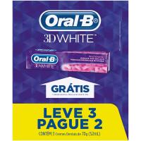 2 Pacotes Creme Dental Oral-B 3D White - 70g com 3 Unidades Cada (Total de 6 Unidades)