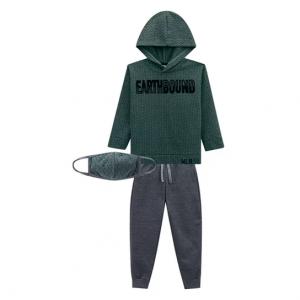 Conjunto Moletom Infantil Milon Jacquard Peluciado Com Máscara De Proteção Masculino - Verde