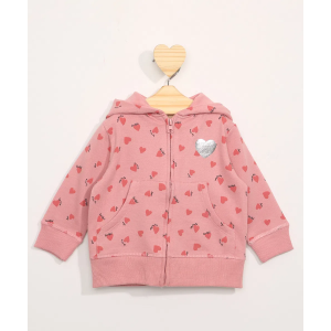 Blusão de Moletom Infantil Estampado de Corações com Capuz e Bolsos Rosa