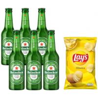 Cerveja Heineken Puro Malte Lager Premium - Long Neck 6 Garrafas de 330ml + Salgadinho 96g