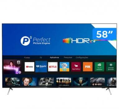 Smart TV LED 58″ Philips 58PUG7625/78 UHD 4K, P5, HDR10+, Dolby Vision Atmos, Bluetooth, Wi-Fi, Bordas Ultrafinas