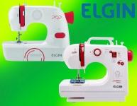 Maquina de Costura Bella, Compacta, Elgin, Branco / Rosa