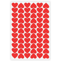 Etiqueta Lisa com Formas de Coração Vermelho - 210 Unidades