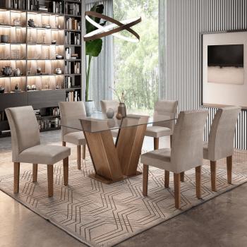 Conjunto Sala de Jantar Mesa Tampo de Vidro 6 Cadeiras Classic Cel Móveis