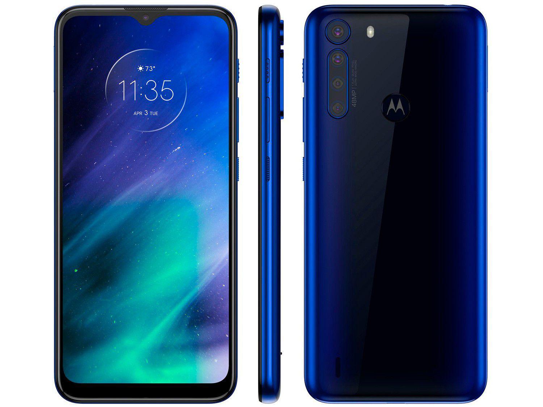 "Smartphone Motorola One Fusion 128GB Azul Safira – 4GB RAM Tela 6,5"" Câm. Quádrupla + Selfie 8MP"