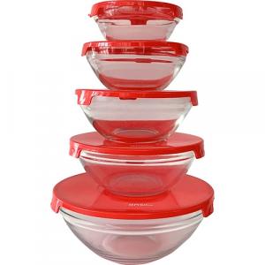 Conjunto de Potes de Vidro Redondos e Tampa Plástica Vermelha 5 peças - Basic+