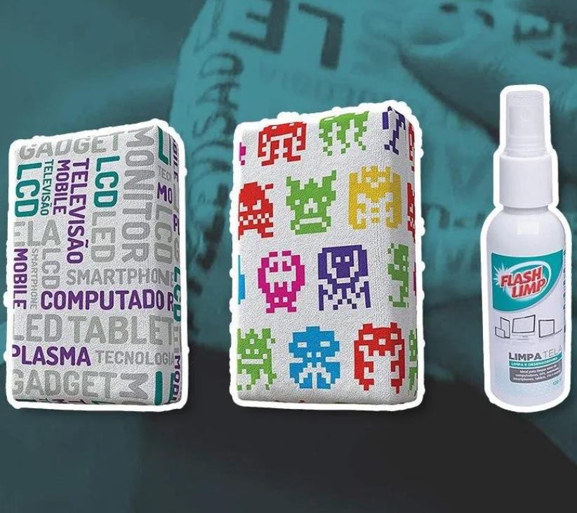 Flash Limp, Kit com 2 Esponjas Microfibra e 1 Limpa Telas Spray 120ml, Estampas Sortidas