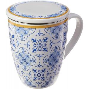 Caneca de Porcelana Super White com Tampa e Filtro Lisboa Azul/Branca 310ml