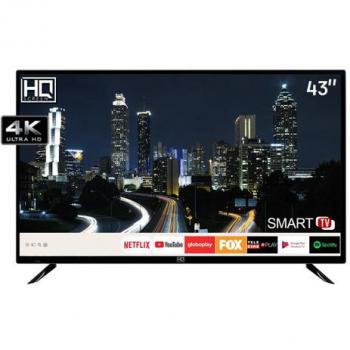 Smart TV LED 43″ HQ HQSTV43NY Ultra HD 4K Netflix Youtube 2 HDMI 2 USB Wi-Fi
