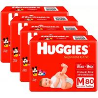Kit 4 Pacotes Fraldas Huggies Supreme Care M - 80 Unidades (Total 320 unidades)