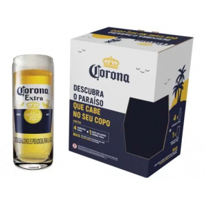5 Packs Kit Cerveja Corona Lager 4 Unidades 330ml com Copo - 104039