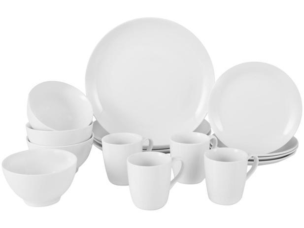 Aparelho de Jantar 16 Peças Schmidt Porcelana – Redondo Branco Universal