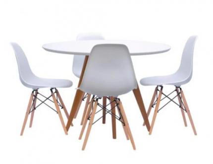 Conjunto Mesa Square Redonda 88cm com 4 Cadeiras Eiffel – Branco