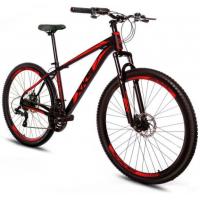 Bicicleta Xks Aro 29 Alumínio Freio A Disco 21v - Preta com Vermelho - Quadro 17