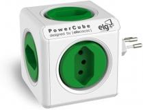 Multiplicador 5 Tomadas Bivolt – PowerCube ELG – PWC-R5, Verde e Branco