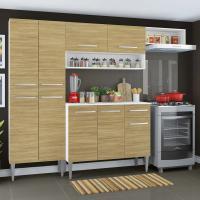 Cozinha Compacta Madesa Emilly Top com Armário e Balcão Branco/Carvalho