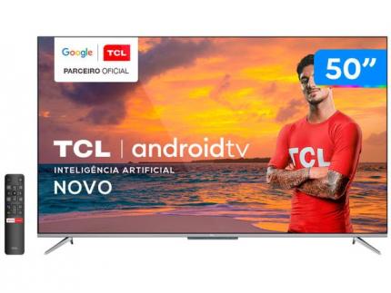 "Smart TV 4K UHD LED 50"" TCL 50P715 Android Wi-Fi – Bluetooth 3 HDMI 2 USB"