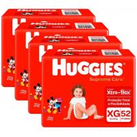 Kit Fraldas Huggies Supreme Care Hiper XG - 4 Pacotes com 52 Unidades Cada