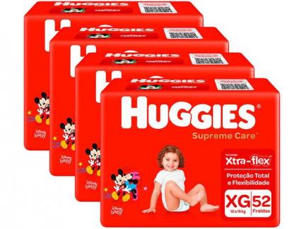 Kit Fraldas Huggies Supreme Care – Tam. XG 12 a 15kg 4 Pacotes com 52 Unidades Cada